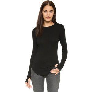 LNA Sloane Rib Long Sleeve Top Black Size S NWT